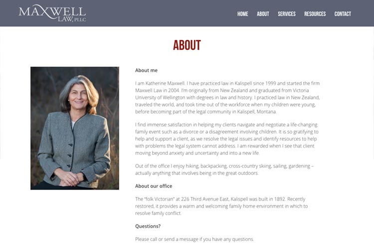 web design for a family law firm in Montana - about page