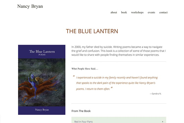 web design for a writer and teacher - book page