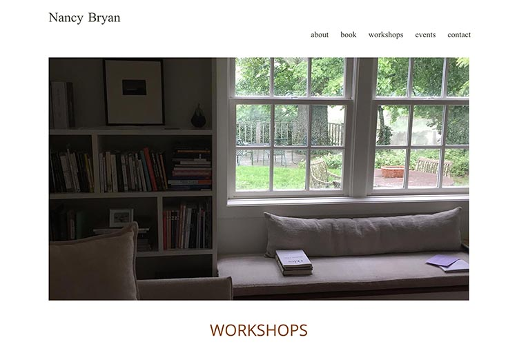 web design for a writer and teacher - workshops page