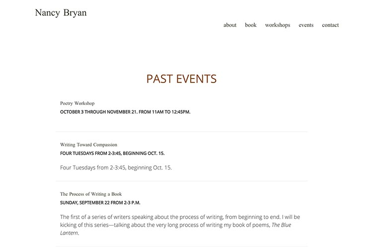 web design for a writer and teacher - events page
