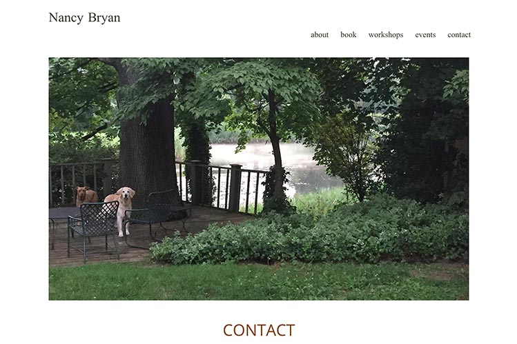 web design for a writer and teacher - contact page