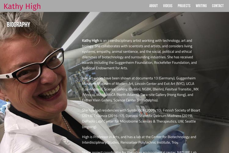 web design for a new media artist - biography page