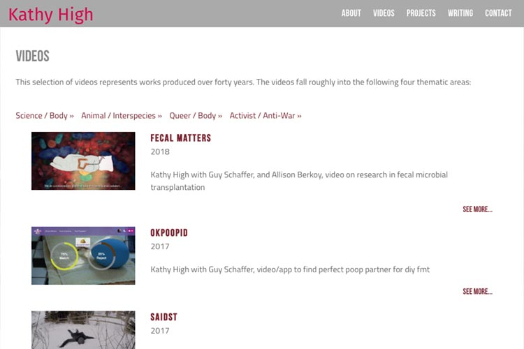 web design for a new media artist - video index page