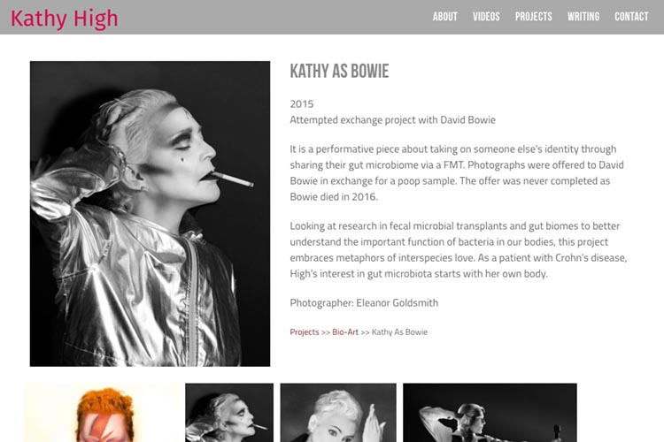 web design for a new media artist - project single page