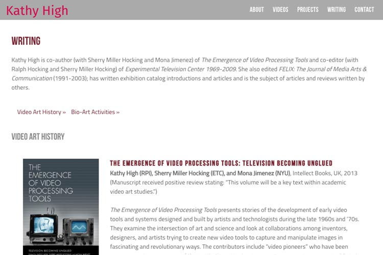 web design for a new media artist - books index page