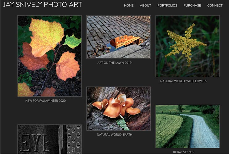 web design for a photographer - portfolios index page