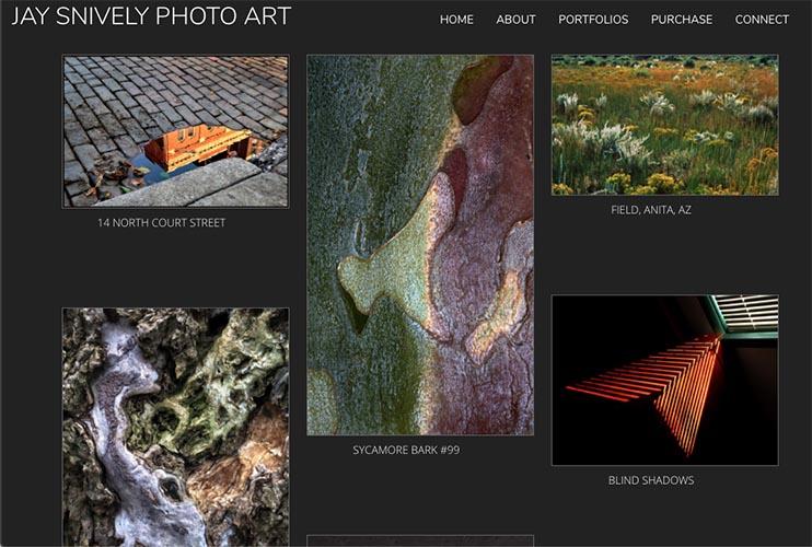 web design for a photographer - portfolios single page