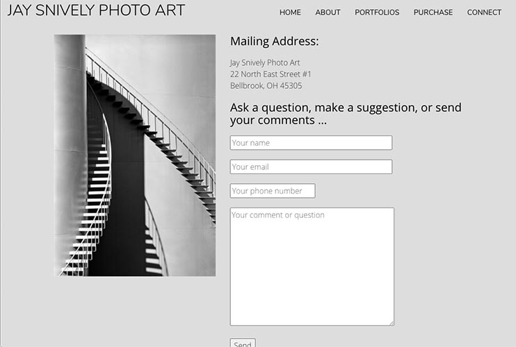 web design for a photographer - contact page