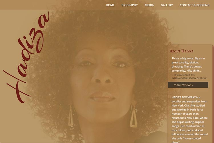 web design for a jazz singer - Hadiza Dockeray