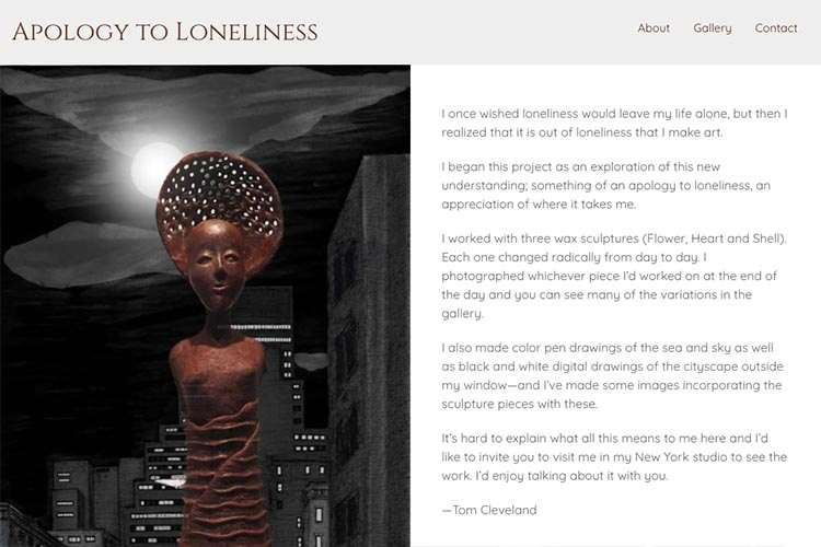 website design for an artist - home page