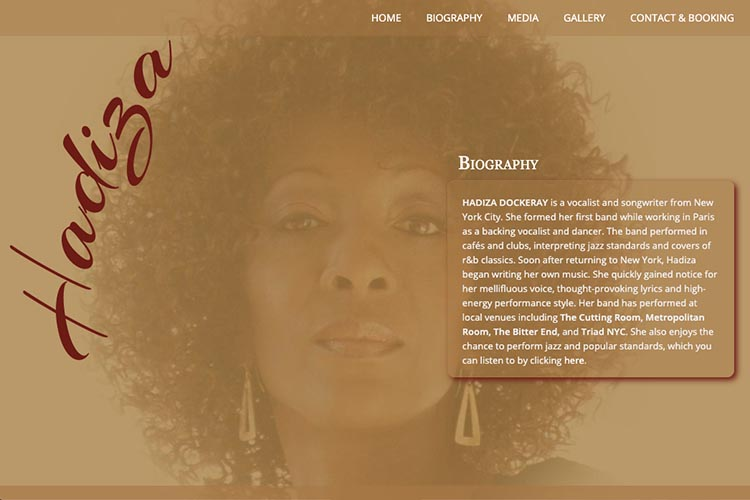 web design for a jazz singer - about page