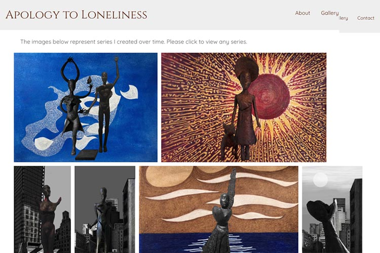 website design for an artist - gallery index page