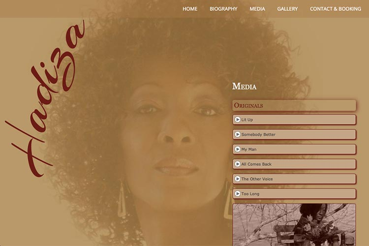 web design for a jazz singer - media page