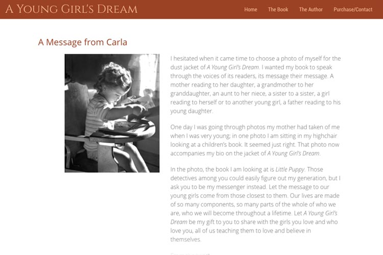 web design for a book about a young girl's dream - about the author page
