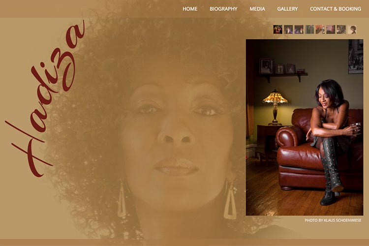 web design for a jazz singer - gallery page