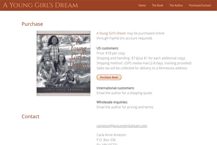 web design for a book about a young girl's dream - purchase and contact page