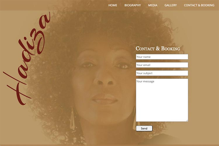 web design for a jazz singer - contact page