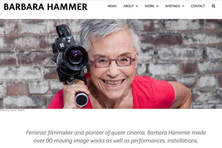 website design for filmmaker and performance artist Barbara Hammer - homepage