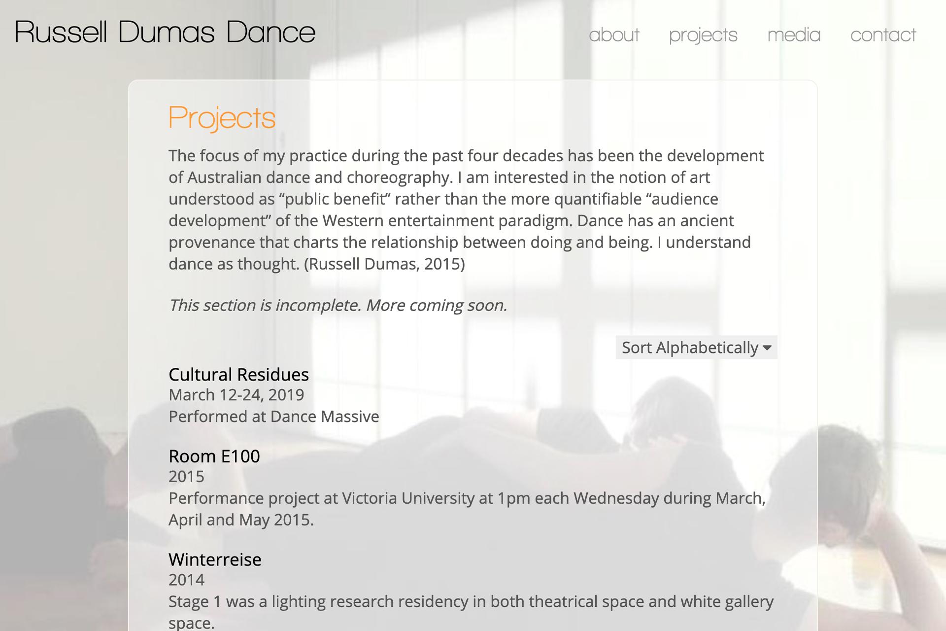 website design for dancer russell dumas