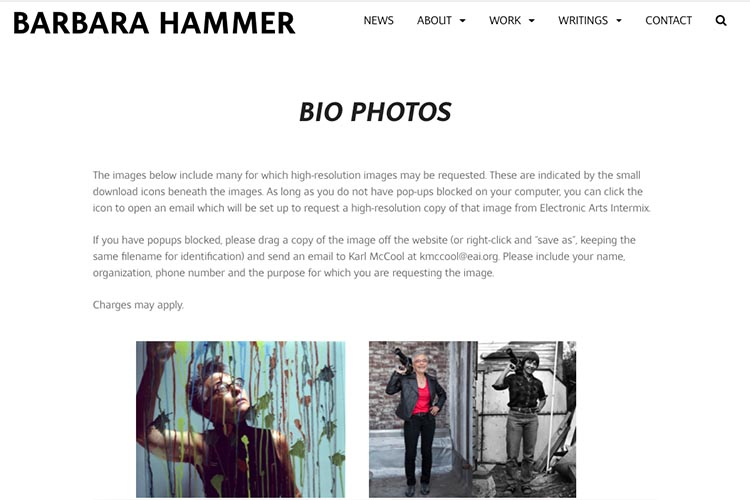 website design for filmmaker and performance artist Barbara Hammer - bio photos page