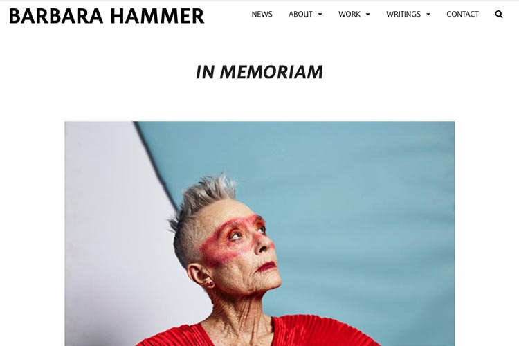 website design for filmmaker and performance artist - in memoriam page