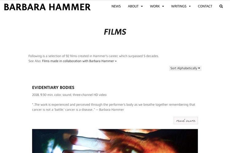 website design for filmmaker and performance artist - films index