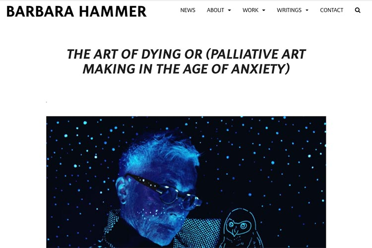 website design for filmmaker and performance artist Barbara Hammer - performance single page