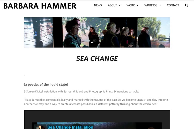 website design for filmmaker and performance artist - single installation page