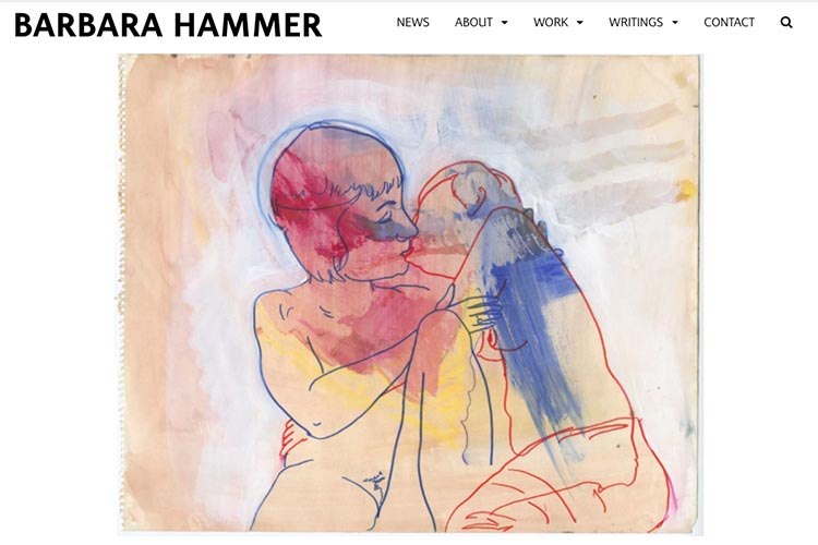 website design for filmmaker and performance artist Barbara Hammer - single drawing page