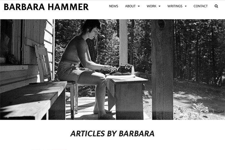 website design for filmmaker and performance artist Barbara Hammer - articles by page