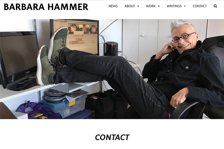 website design for filmmaker and performance artist Barbara Hammer - contact page