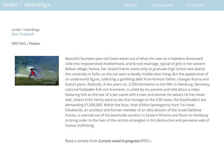 web design for a therapist and author - fiction page