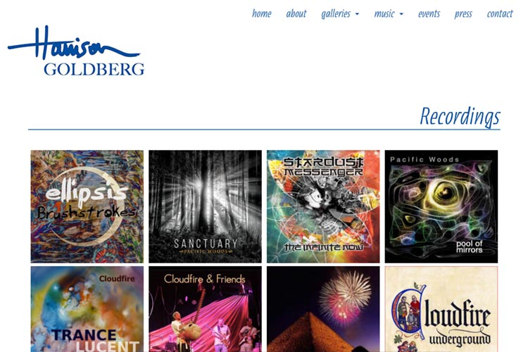 web design for artist & musician - music page