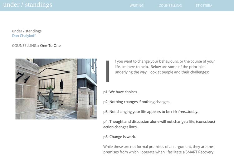 web design for a therapist and author - one-to-one counseling page