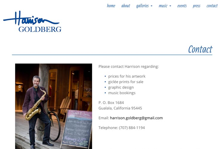 web design for artist & musician - contact page