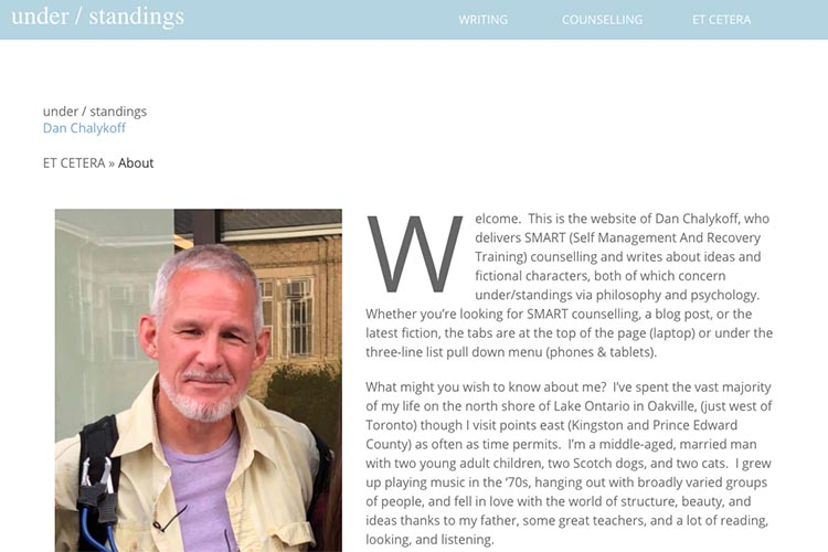 web design for a therapist and author - about page