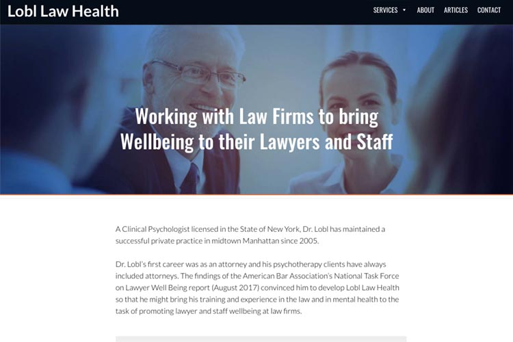 web design for a law firm health consultant - homepage