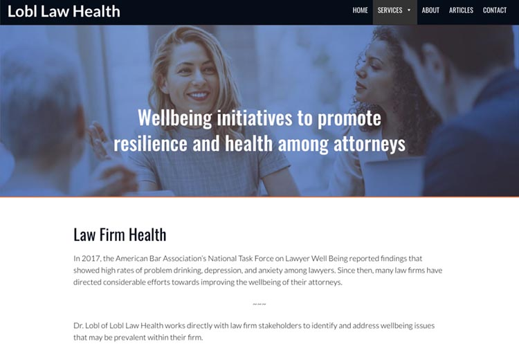 web design for a law firm health consultant - law firm health page
