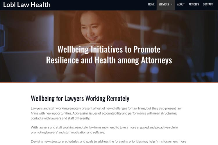 web design for a law firm health consultant -  - wellbeing for lawyers working remotely page