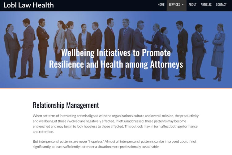 web design for a law firm health consultant - relationship management page