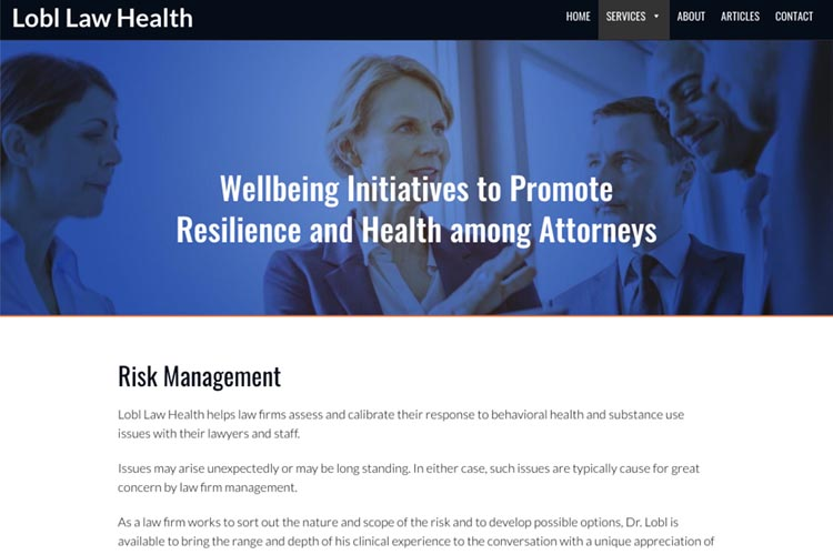 web design for a law firm health consultant - risk management page