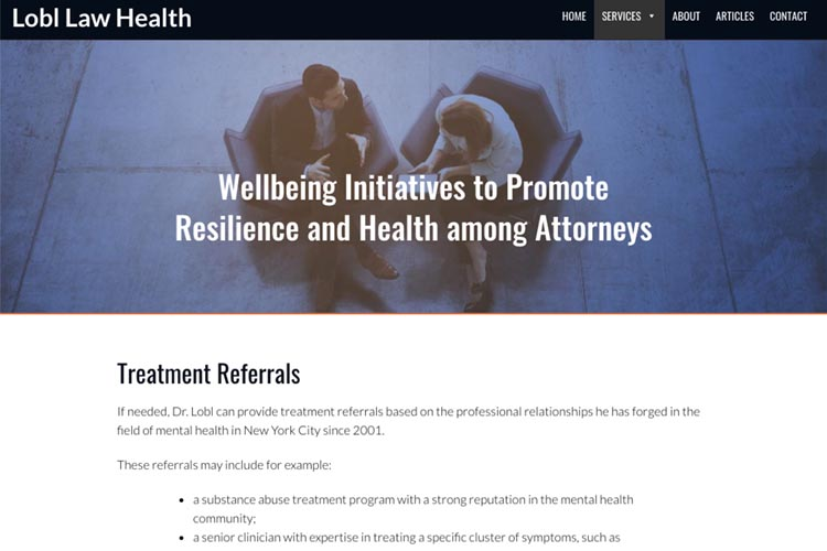 web design for a law firm health consultant - treatment referrals page