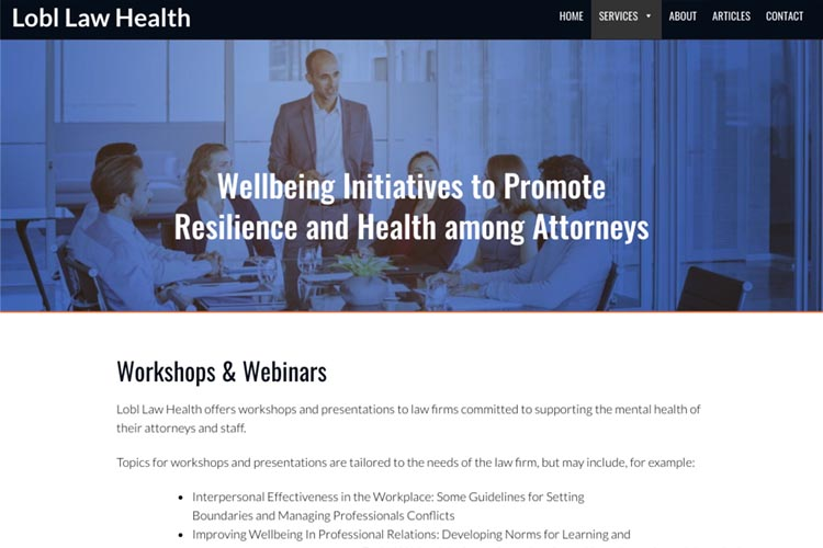 web design for a law firm health consultant - workshops and webinars page