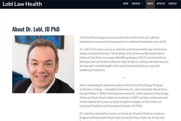 web design for a law firm health consultant - about page