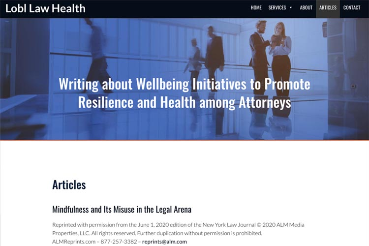 esign for a law firm health consultant - articles page