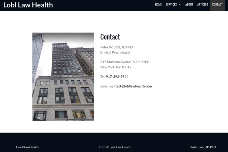 web design for a law firm health consultant - contact page