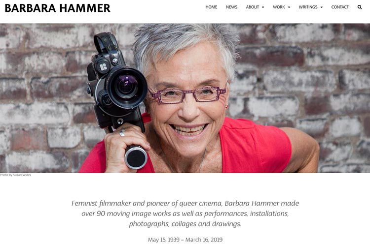 web design for a filmmaker - Barbara Hammer