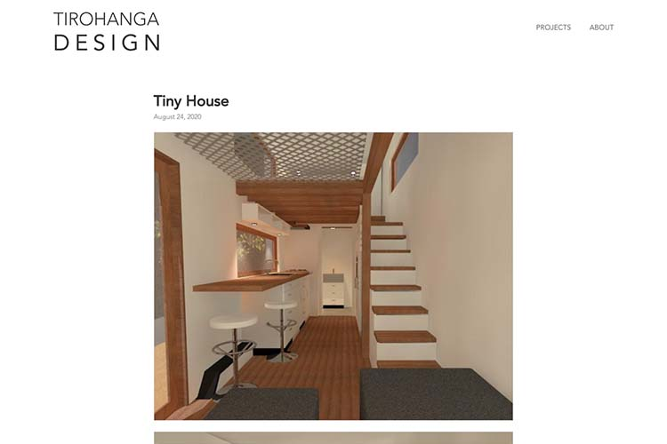 website design for an architect - project page - tiny house
