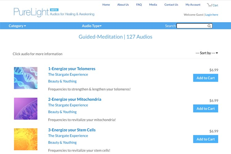 web development for an e-commerce integration with an app - audio type index page