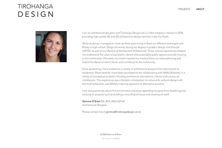 website design for an architect - about the architect page